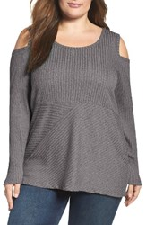 Mblm By Tess Holliday Plus Size Women's Rib Knit Cold Shoulder Top