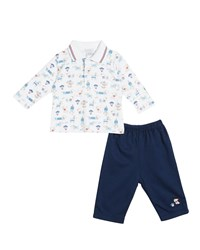 Kissy Kissy Cozy Pups Two Piece Pant Set Size 6 24 Months Blue