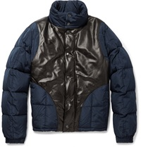 Alexander Mcqueen Shell And Leather Bomber Jacket Blue