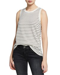 Current Elliott The Easy Striped Crewneck Muscle Tank Silv Metallic