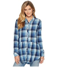 Mod O Doc Stone Washed Indigo Plaid Long Sleeve Button Front Shirt W Front Pockets Multi Blue Women's Long Sleeve Button Up