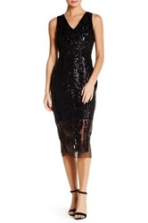 Alexia Admor V Neck Sleeveless Embellished Sequin Dress Black