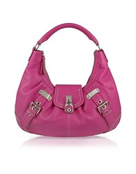 Buti Large Pebble Leather Hobo Bag Fuchsia