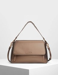 Charles And Keith Zip Detail Front Flap Bag Bronze