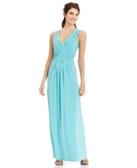 Sangria Sleeveless V Neck Pleated Gown Surf
