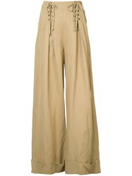 Ulla Johnson Wide Leg Trousers Women Cotton Linen Flax Tencel 0 Brown