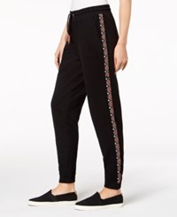 Styleandco. Style Co Embroidered Knit Jogger Pants Created For Macy's Medium Black