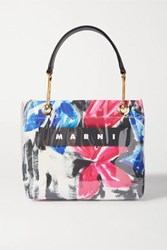 Marni Glossy Grip Leather Trimmed Floral Print Coated Canvas Tote Pink