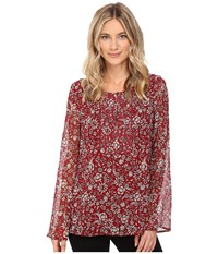 Sanctuary Violetta Blouse Artisan Foliage Lurex Women's Blouse Red