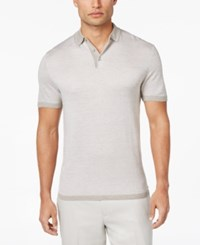 Alfani Men's Textured Striped Polo Only At Macy's Ash Tan Heather
