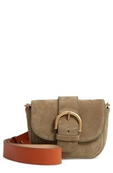 J.Crew Buckle Crossbody Suede Bag Green Frosty Olive