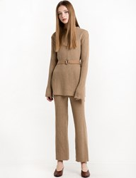 Pixie Market Light Tan Belted Knit Pant Set