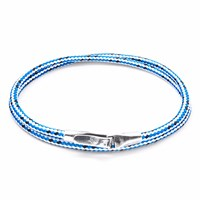 Anchor And Crew Blue Dash Liverpool Silver Rope Bracelet