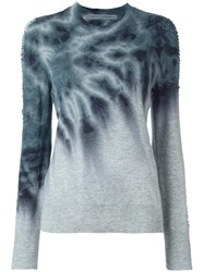 Raquel Allegra Tie Dye Shredded Sleeve Jumper Green