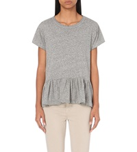 The Great Frilled Hem Cotton Jersey T Shirt Heather Grey
