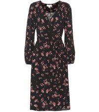 Velvet Pomona Floral Crepe Wrap Dress Blue
