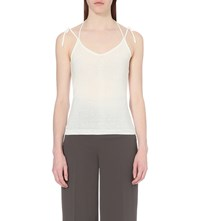 Whistles Halterneck Knitted Cotton Blend Camisole Cream