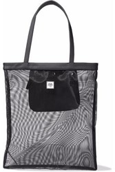 Opening Ceremony Faux Leather Trimmed Mesh Tote Black