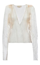 Genny Sheer Long Sleeve Top White