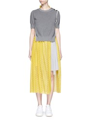 Sacai Sweater Overlay Eyelet Lace Pleated Dress Multi Colour