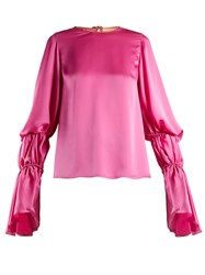 Roksanda Ilincic Nezu Gathered Detail Satin Blouse Fuchsia