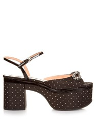 Rochas Crystal Bow Embellished Satin Platform Sandals Black White
