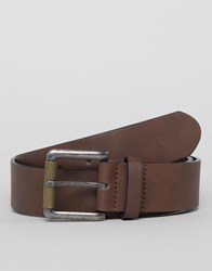 Asos Design Faux Leather Wide Belt In Matte Brown With Roller Buckle
