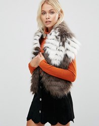 Urbancode Faux Fur Wide Scarf Brown Cream