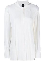 Norma Kamali Concealed Button Shirt White