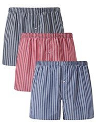 John Lewis Esher Stripe Woven Cotton Boxers Pack Of 3 Blue Red