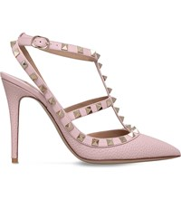 Valentino Rockstud 100 Leather T Bar Courts Pale Pink
