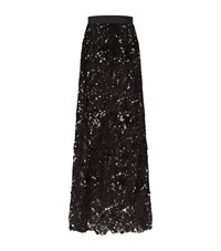 Johanna Ortiz Cana Guipure Lace Sequin Maxi Skirt Female Black