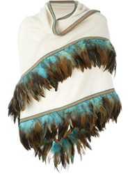 Antonia Zander Feather Trim Scarf Nude And Neutrals
