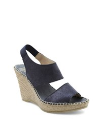 Andre Assous Reese Suede Platform Wedge Sandals Navy Blue