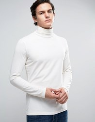 New Look Long Sleeve Top With Roll Neck In Off White White