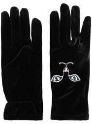 Vivetta Cat Embroidered Mittens Black