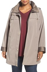 Gallery Plus Size Women's Two Tone Silk Look Raincoat With Removable Hood Desert Sand
