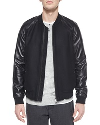 Vince Leather Sleeve Bomber Jacket Black