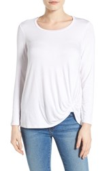 Gibson Women's Knotted Long Sleeve Tee White
