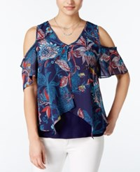 Amy Byer Bcx Juniors' Printed Cold Shoulder Blouse Navy Multi
