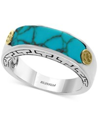 Effy Men's Manufactured Turquoise Ring 20 X 6Mm In Sterling Silver And 18K Gold Blue