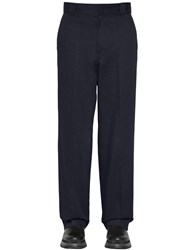 Prada 25Cm Cotton Twill Trousers W Logo Blue