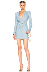 Balmain Double Breasted Mini Dress In Blue