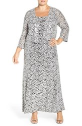 Alex Evenings Plus Size Women's Sequin Lace Gown And Jacket
