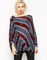 L.A.M.B. L.A.M.B Oversize Striped Long Sleeve Top Assample