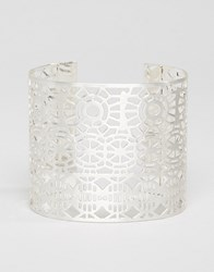 Pilgrim Cut Out Detail Chunky Cuff Bracelet Silver