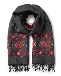 East Double Face Wool Emb Scarf Grey