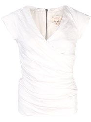 Nicole Miller Ruched V Neck Blouse White