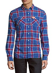 Superdry Slim Line Tonal Check Shirt Rare Plum