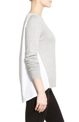 Women's Halogen Poplin Back Crewneck Sweater Grey Heather